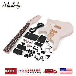 Unfinished Diy Electric Guitar Kit Basswood Body Maple Neck Includes All Parts