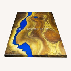 Epoxy Blue Resin Solid Wood Acacia Epoxy Dining Table For Big Family {top-only}