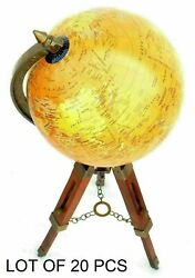 Antique 8 Diameter World Map Table Globe Office Decor With Wooden Tripod Stand