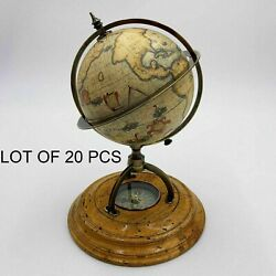 Vintage Terrestrial World Globe With Compass Antique Table Top Decor Collectible