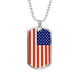 Us Flag Traditional Country Pride Red White And Blue Necklace Stainless Steel Or
