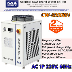 Cw-6000bn Industrial Water Chiller For 30w-300w Fiber Laser Cooling, Cnc Spindle