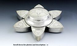 Nice Asian Silver Six Petals Lotus 7 Compartment Spice Container
