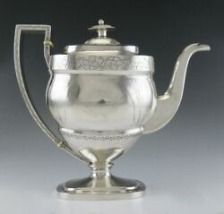 Antique C1780 American Colonial Coin Silver Wg Forbes Coffeepot Or Teapot