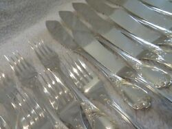 Early 20th C French Silver-plated 24p Fish Cutlery Set Christofle Marly ++ A84
