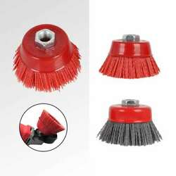75mm 3 Cup Nylon Abrasive Wire Brush Polishing Wheel For Derusting 80 120 Grit