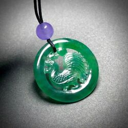 China Emerald 100 Natural Jade Jadeite Chinese Zodiac Cock Rooster Pendant