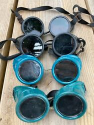 Four Vintage Glasses Cutting Torch Safety Goggles Steampunk Motorcycle