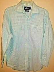 Mens Shirt Size 15.5 32 33 Purple Green Plaid On White Long Sleeve Button Up