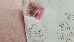 George Washington 2 Cent Stamp. Used On Letter Stamped 1903 Very Rare.