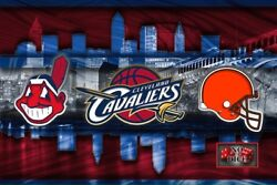 Cleveland Sports Poster, Cleveland Cavaliers Browns Indians 12x18in Free Ship