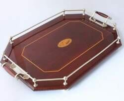 Large Antique Mahogany And Silver Plate Inlaid Gallery Tray. Cocktail Drinks C1900