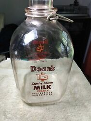 Deanand039s Country Charm Glass Milk Jug Bottles 1 One Gallon Nice