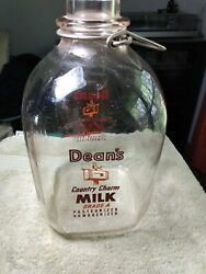 Dean's Country Charm Glass Milk Jug Bottles 1 One Gallon Nice