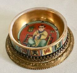Antique Chinese Master Salt Porcelain Hand Painted With Brass Ormolu Base