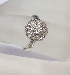 Antique Art Deco Old Euro Diamond Cluster Engagement Ring Solid 18k White Gold