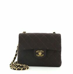 Vintage Square Classic Single Flap Bag Quilted Jersey Mini
