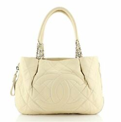 Timeless Cc Expandable Tote Quilted Caviar Medium