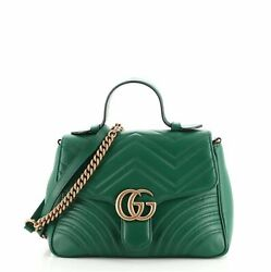 Gg Marmont Top Handle Flap Bag Matelasse Leather Small