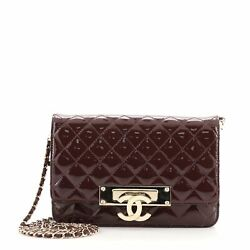 Golden Class Wallet On Chain Quilted Patent