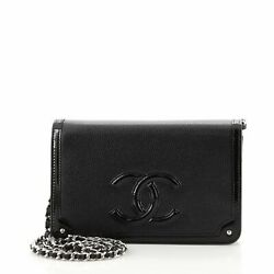 Timeless Cc Wallet On Chain Studded Patent And Leather