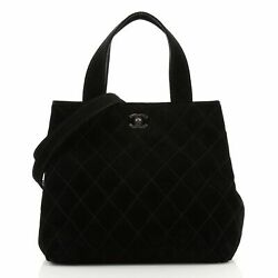 Vintage Cc Tote Quilted Suede Small