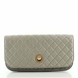 Pearl Full Flap Clutch Quilted Lambskin