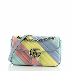 Gg Marmont Flap Bag Diagonal Quilted Leather Small