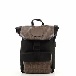 Fendi Ff Logo Stamp Buckle Backpack Zucca Coated Canvas With Nylon