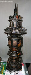Unique Ox Horn Oxhorn Dragon Loong Phoenix Fenghuang Bird Tower Pagoda Stupa