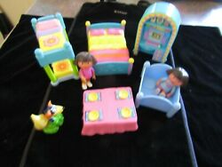 Dora The Explorer Mattel Lot Of 8 Pieces Dolls And Dolls House Furniture