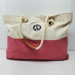 MG Tote Bag Canvas Pink Cream Rope Straps Monogrammed MSM Large Beach $9.99