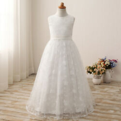 Us Flower Girls Lace Embroidery Wedding Party Holy Communion Prom Pageant Dress