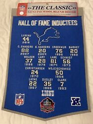 Detroit Lions Hall Of Fame Inductees Wool Pennant Banner Barry Sanders Nfl 🏈