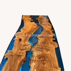 Ultra Clear Dining Table Natural Acacia Wood Table Crystal Blue Resin Epoxy Tops