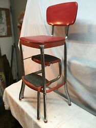 Vtg Rustic Steel Cosco 3 Step Stool Kitchen Red Chrome Country Cottage