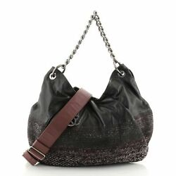 Coco Pleats Hobo Leather And Tweed Large