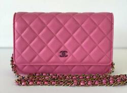 Lambskin Quilted Rainbow Chains Cc Mini Wallet On Chain Woc Pink Yellow