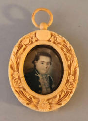 1700and039s Antique Picture Revolutionary War Officer Henry Kean Bone Frame 3.25x2