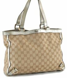 Authentic GUCCI Abbey GG Shoulder Tote Bag Canvas Leather Brown Gold 96786 $280.00