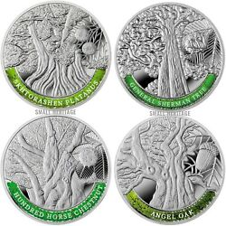 Armenia Silver Coin Set 4 Coins The Oldest Trees Of The World Proof 999 Bullion