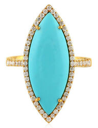 1.77ct Natural Round Diamond Turquoise 14k Solid Yellow Gold Cocktail Ring