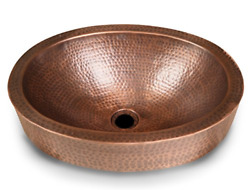 Monarch Pure Copper Hand Hammered Skirted Sink 17 Inches Drop In Or Vessel