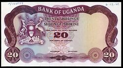 🔸uganda 20 Shillings 1966 P-3 Without Number And Sign Xf-aunc Rare M-036🔸