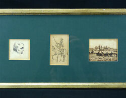 Drawing Antique Three Studies In The Ink Chinese On Paper Japan .une Signed