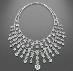 925 Sterling Silver Round Brilliant-cut Pear Floral Wedding Diamond Necklace