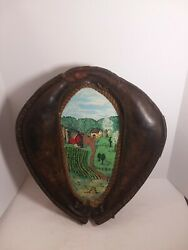 Vtg Antique Leather Horse Collar Harness Yoke Decoration Picture Wall Hanger