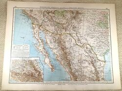 1906 Antique Map Of West Coast United States California Large German Lithograph