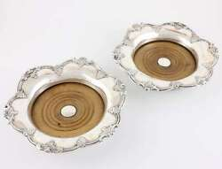 Pair Large Victorian Silver Wine Coasters Bottle Holders James Dixon And Sons 1844