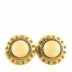 Star Round Clip-on Earrings Metal With Resin And Crystal